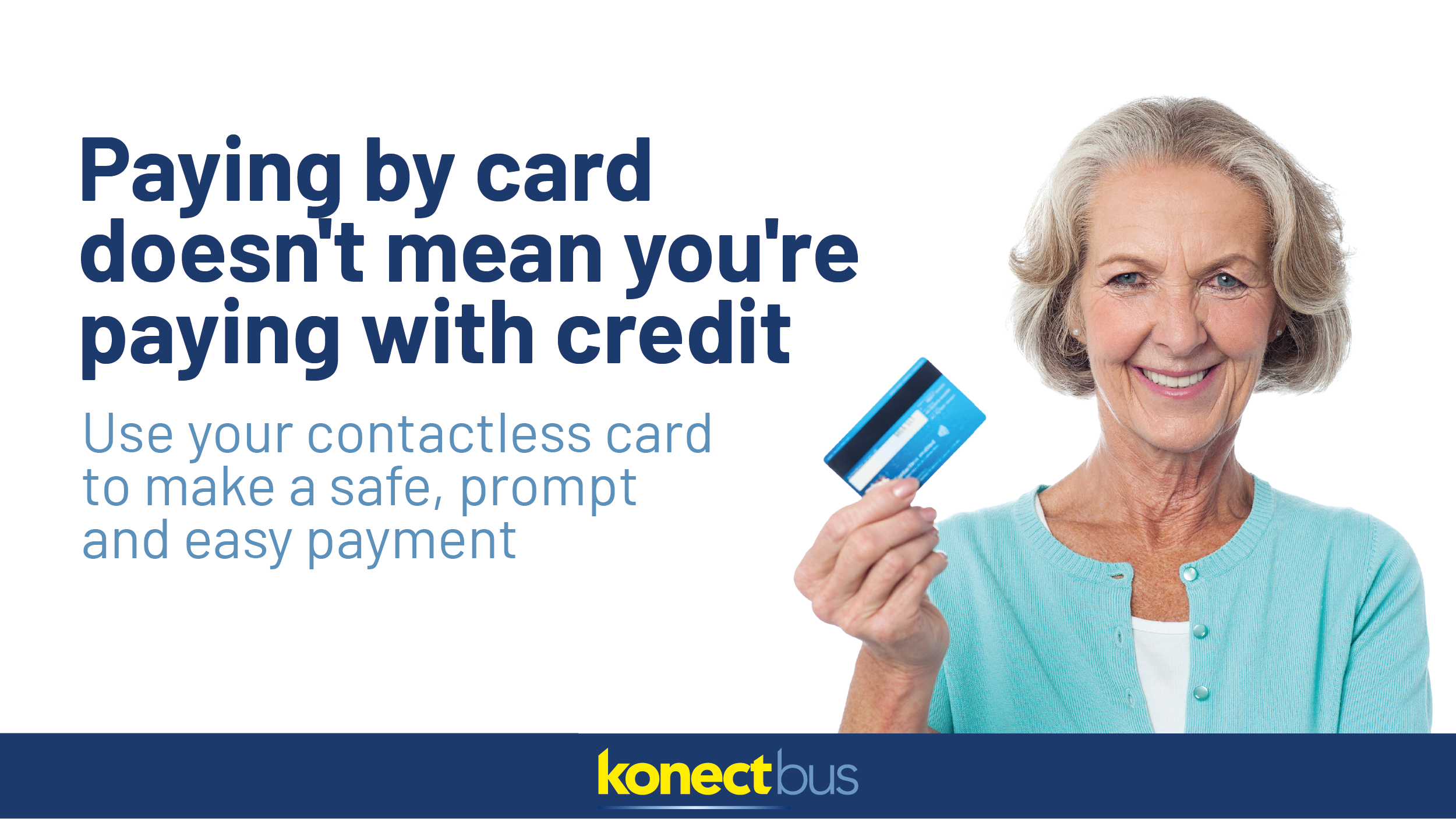 Image reading 'Paying by card doesn't mean you're paying with credit'