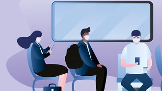 Illustration of people sat on a bus