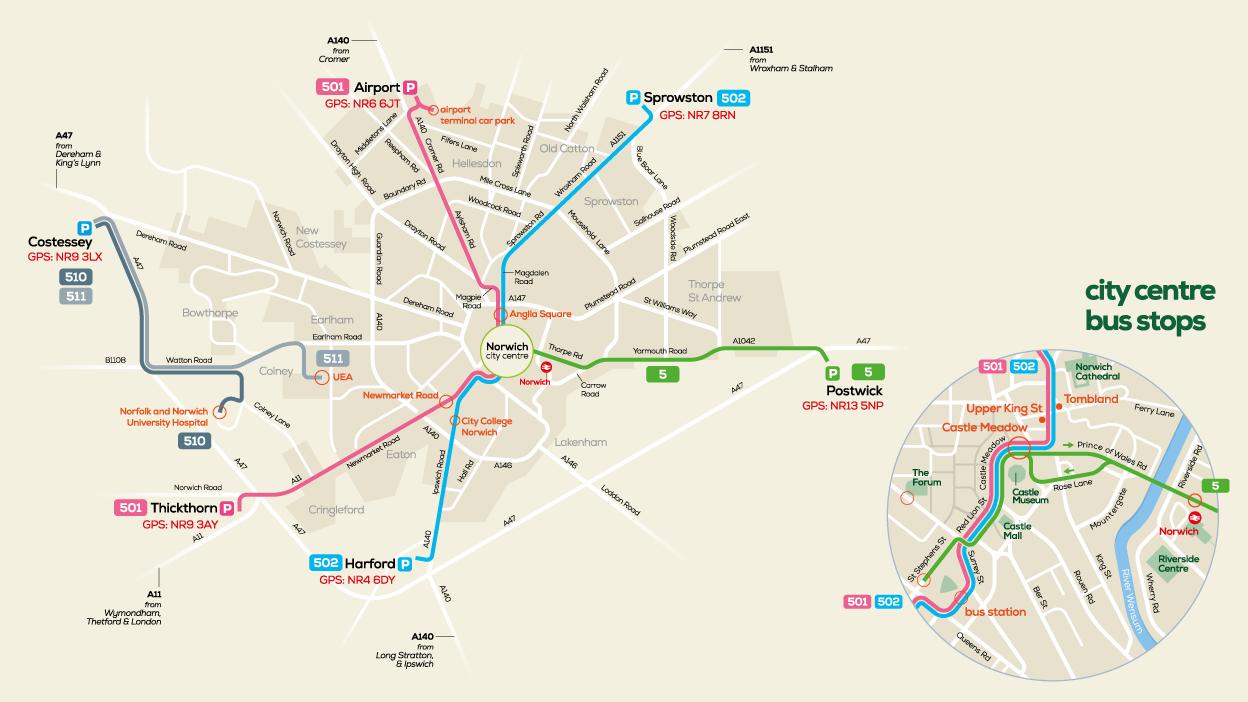Norwich Park & Ride network map