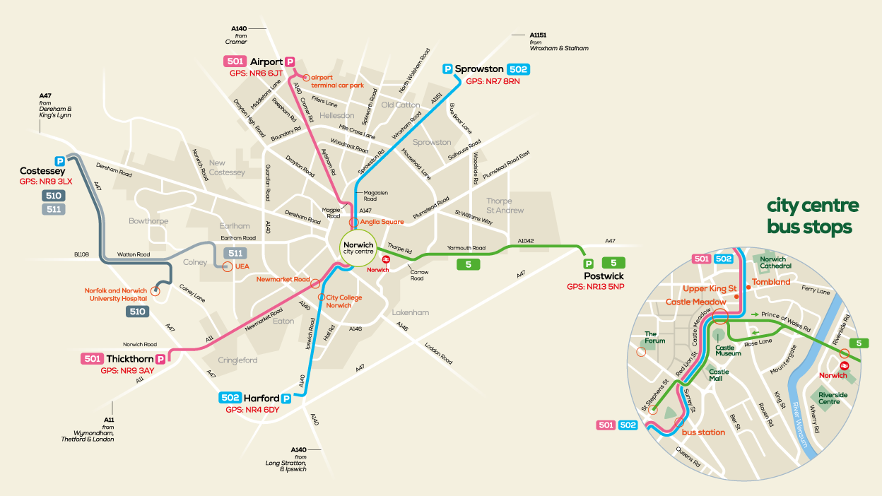 Norwich Park & Ride map